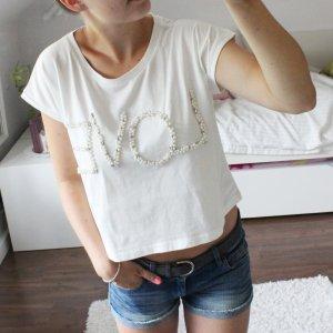 Cropped Top T-Shirt Love Perlen Edelsteine creme weiß Even&Odd Größe S