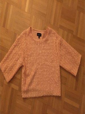 Cropped Top T-Shirt Pailetten Lachs/Apricot