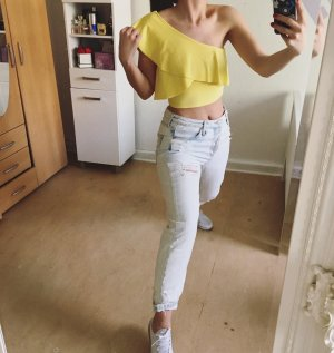 cropped Tops mit Volants und one shoulder