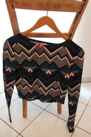 Cropshirt mit langen Ärmeln und Muster