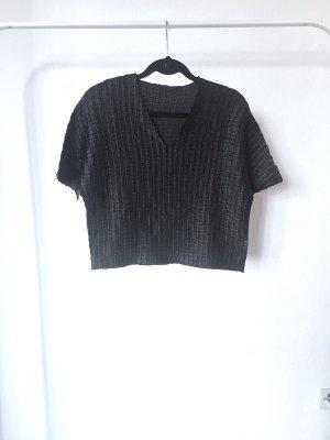 Cropshirt VINTAGE 80s black v-auschnitt schwarz cracked bauchfrei