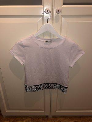 Fishbone Cropped Shirt white-black