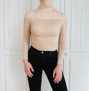 Croptop Crop Top Glitzer Nude Creme Beige Choker t-shirt tshirt shirt XS H&M pulli pullover