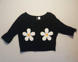 Croptop/Cropped Shirt mit Blumen-Print, Größe S