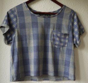Croptop, Karo-T-Shirt von Topshop, blaugrau