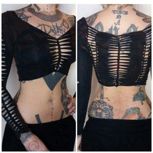 Croptop longsleeve cutouts schwarz langarmshirt shirt langärmlig