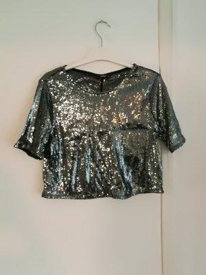 Only Cropped shirt zwart-zilver