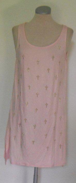 Cross Kreuz Sommer Longtop Gr. 38 40 rosa gold Pailletten Chiffon