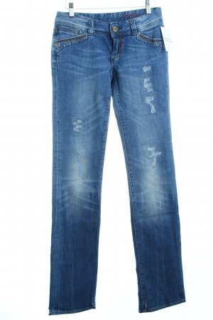 Cross Straight-Leg Jeans blau Destroy-Optik