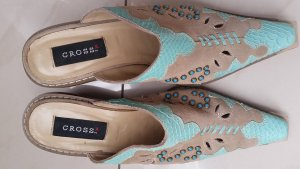 Sandalo con tacco turchese-sabbia