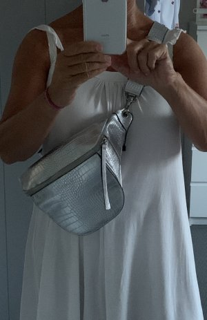 A-Z Shoulder Bag silver-colored imitation leather