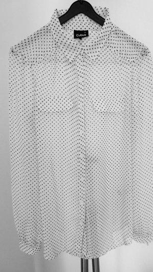 Cubus Bluse Tunika transparent weiss mit schwarzen Punkten Gr. 38