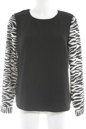 Cubus Langarm-Bluse schwarz-weiß Animalmuster schlichter Stil