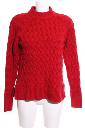 Cubus Cable Sweater red cable stitch casual look