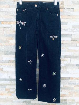 Cullotte Dark Jeans mit Aplikationen von H&M gr. XXS