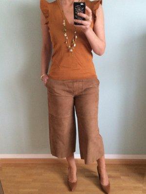 Hallhuber Falda pantalón de pernera ancha marrón-coñac Cuero