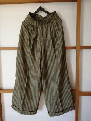 Pantalone culotte cachi-nero Tessuto misto