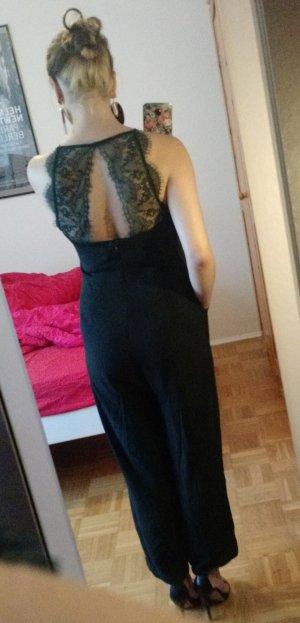 Culotte Overall Hallhuber Gr. 36 S drün spitze Playsuit jumpsuit lace elegant