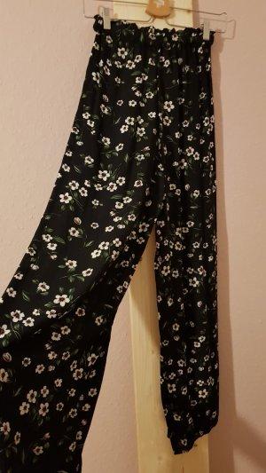 24Colours Falda pantalón de pernera ancha negro-blanco puro