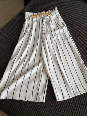 Zara Trafaluc Pantalone culotte bianco-blu scuro