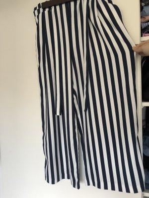 Zara Pantalone culotte bianco-blu scuro