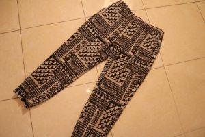 Zara Falda pantalón de pernera ancha blanco-azul oscuro