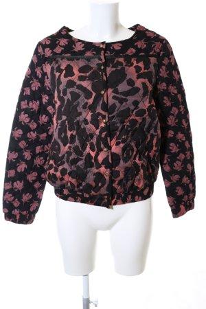 Culture Giacca bomber nero-rosa motivo astratto stile casual