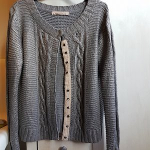Culture Denmark Strickjacke Grobstrick grau silber metallic GrL (XL)