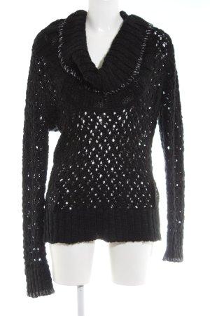 Culture Crochet Sweater black weave pattern casual look