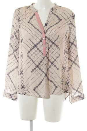 Culture Long Sleeve Blouse cream-dark blue abstract pattern casual look