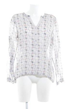 Culture Langarm-Bluse hellbeige-grau Karomuster schlichter Stil