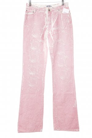 Culture Straight-Leg Jeans weiß-rosa florales Muster Destroy-Optik