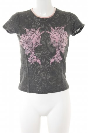 Culture T-shirt antraciet-roze abstract patroon casual uitstraling