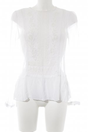 Culture Transparante blouse wit-wolwit bloemen patroon casual uitstraling