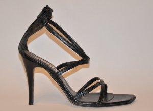 Cuomo Stilettos High Heels mit Reißverschluss Riemchen Pumps Leder schwarz 39