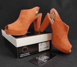 Cuplé Sandales à talons hauts et plateforme orange daim