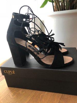 Cuplé High-Heeled Sandals black suede