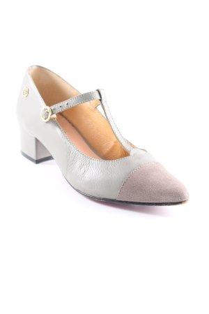 Cuplé Zapatos de tacón con barra en T verde grisáceo elegante