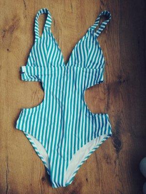 Cupshe Monokini *NEU* Badeanzug Gr. S/M blau gestreift