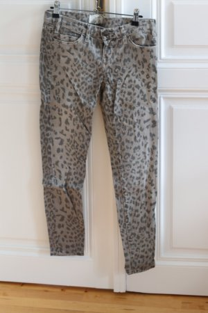 Current Elliot graue Leopard-print Jeans