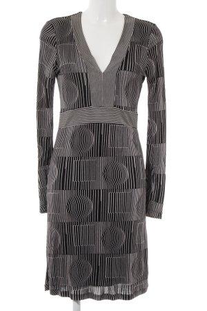 Custo Barcelona Langarmkleid schwarz-weiß abstraktes Muster Casual-Look
