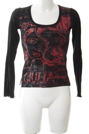 Custo Barcelona Longsleeve schwarz grafisches Muster Casual-Look