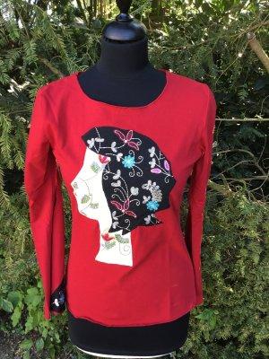 Custo Barcelona Longsleeve Shirt rot Frauenkopf Applikationen Stickerei neu Gr. 2