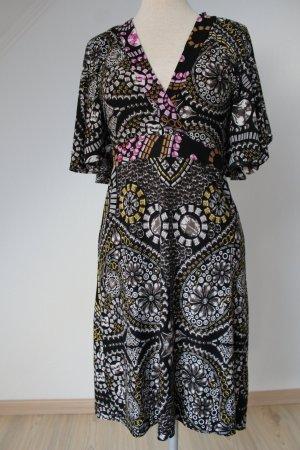 Custo Barcelona Sommerkleid schwarz bunt Gr. 40 Flügelärmel neu