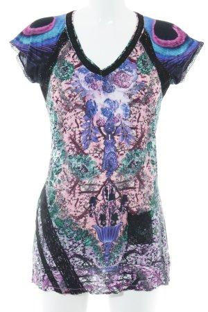 Custo Barcelona T-Shirt florales Muster Struktur-Optik