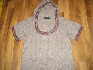 custo knitwear! Kurzarm Pulli/Pullunder mit Kapuze Gr. M in Grau mit lila Borte