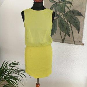 customized selbst genäht neongelb Minikleid Top 34 36