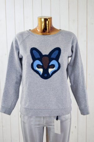 CUSTOMMADE Damen Sweatshirt Sweater Grau Grey Melange Fuchs Fox Rundhals Gr. S