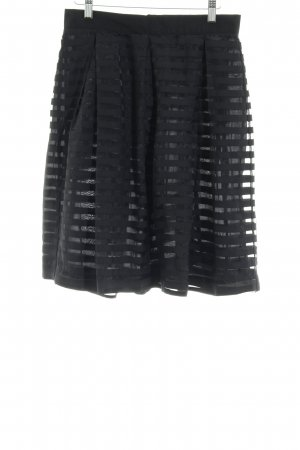 Custommade Flared Skirt black striped pattern transparent look