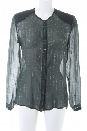 Custommade Long Sleeve Blouse dark green-gold-colored check pattern